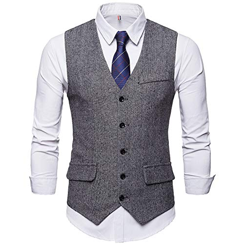 Cottory Men's Single-Breasted Tweed Suit Vest Classic Dress Waistcoat for Casual and Formal Grey Medium