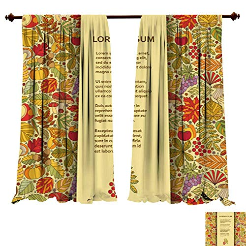Blackout Curtain Panels Flat Poster or Banner Template with Autumn Pattern Light & Noise Insulated Window Draperies - Xtra Large Flat Panel