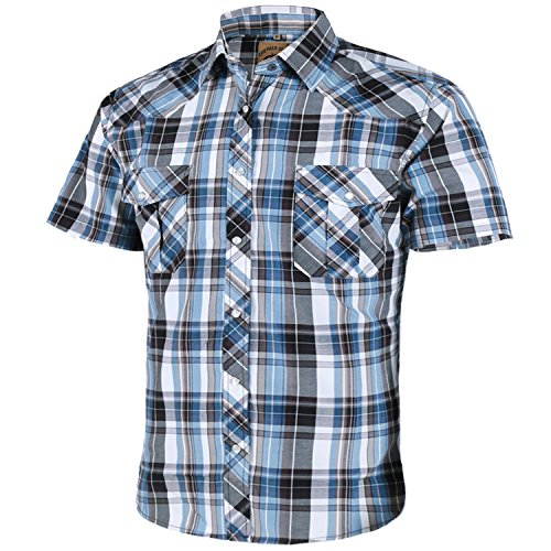 Coevals Club Men's Short Sleeve Casual Western Plaid Snap Buttons Shirt (L, 10#white,blue)