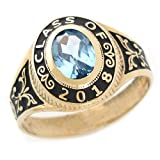 men class rings - 10k Gold Simulated March Birthstone CZ 2018 Class Graduation Ring
