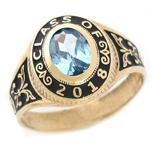 10k Gold Simulated March Birthstone CZ 2018 Class Graduation Ring