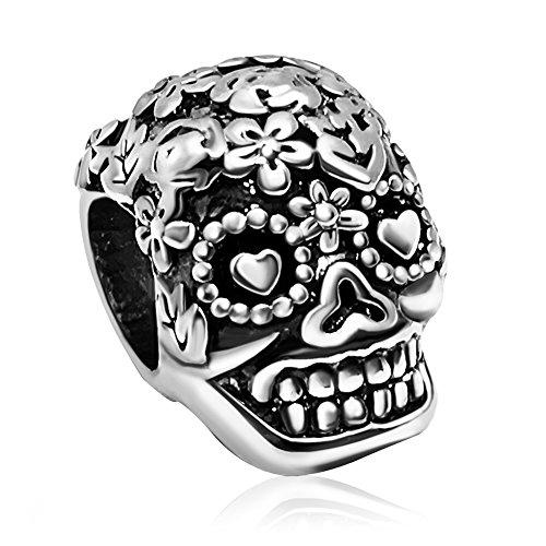 JMQJewelry Skull Charms Dia De Los Muertos Beads For Bracelets