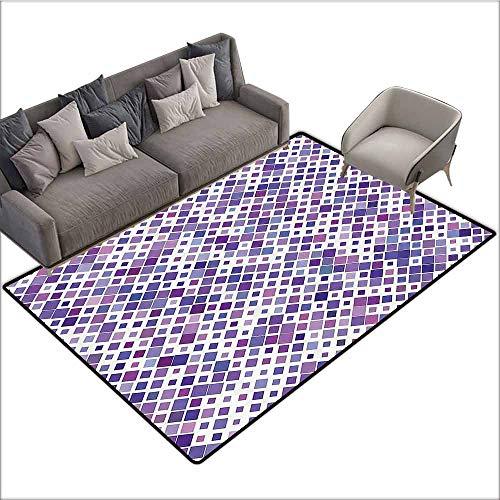 Indoor Super Absorbs Doormat Lavender,Purple Retro Mosaic Creative Pattern Square Rhythm Abstract Art Print Design,Violet Purple White 48