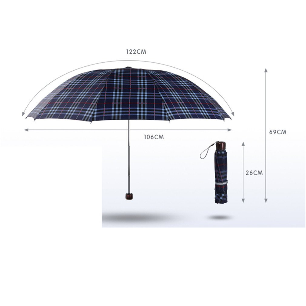 Guoke The Grid, Male, Folding Umbrella Very Large Business Umbrella Umbrellas With A Fine Two Umbrellas, Black - Red/White Grid by Guoke (Image #2)