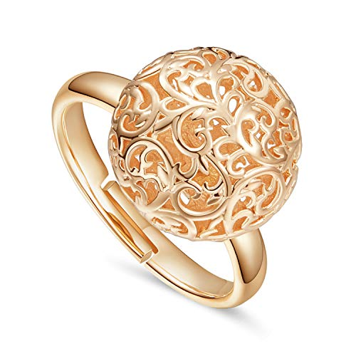 KOAEM 3D Hollow Filigree Ball Statement Rings for Women – Rose Gold/White Gold Plated Adjustable Cocktail Finger Ring Jewelry for Engagement Wedding