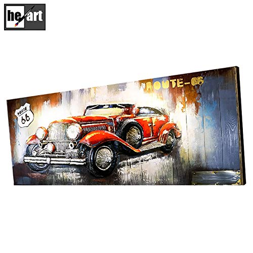 Hand Made 3D Metal Paintings Classic red Luxury car Model Motorcycles Poster Frame Artwork Beautiful Picture Decor Wall Art for livingroom Ready to Hang,A