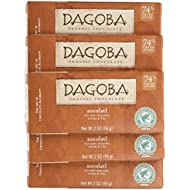 DAGOBA Organic Xocolatl Chocolate Candy Bar, 74% Cacao Fair Trade Certified Gluten-Free Organic Dark Chocolate with Chilies and Nibs, 2 Ounce Bar (Pack of 6)