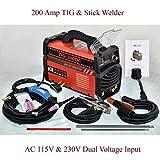 TIG-200 Amp TIG Torch, Stick ARC DC Inverter Welder, 110V & 230V Dual Voltage Welding