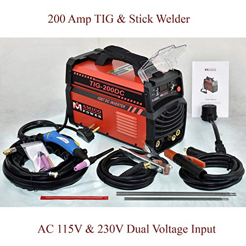 Amico TIG-200 Amp TIG Torch, Stick ARC DC Inverter Welder, 110V & 230V Dual Voltage Welding