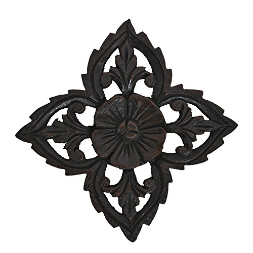AeraVida Amazing Floral Inspired Hand Carved Wooden Wall -