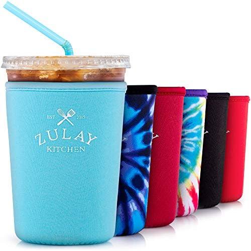 Zulay (22oz to 24oz) Reusable Iced Coffee Sleeve - Medium Sized Neoprene Insulator Coffee Sleeves - Flexible Ice Coffee Sleeve For Starbucks, McDonalds, Dunkin Donuts, & More (Light Blue)