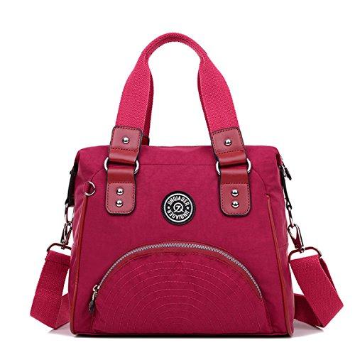 Nylon Double Handle - TianHengYi Women's Water Resistant Nylon Double Top Handle Tote Handbag Girls Crossbody Shoulder Bag Red