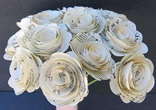 Scalloped Sheet Music Paper Flowers for Centerpiece, Musical Theme Party Decorations, Home Decor Floral Arrangement, One Dozen 1.5