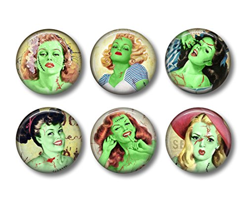 Zombie Magnets - Fridge Magnets - Frankenstein - Pin-Up Girls - Gothic Decor - 6 Magnets - 1.5 Inch Magnets - Kitchen Magnets - Gothic Kitchen - Horror -