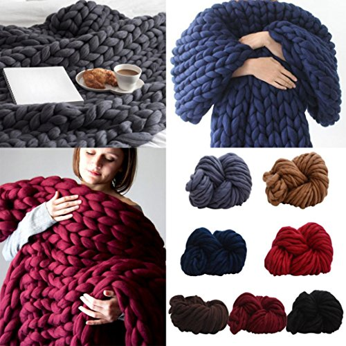 Short Arm Throw (Auwer Super Chunky Roving Wool Big Yarn Crochet Arm Knitting Giant Chunky Knit Blankets Throws for Hand Knitting ,250g, 8.8 Ounze (D))
