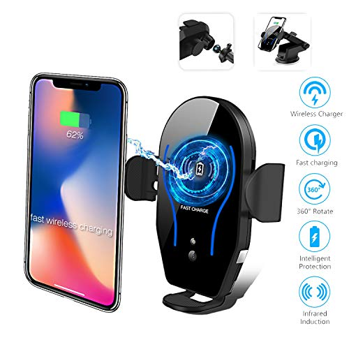 Cetoom Wireless Car Charger, Automatic Induction Clamping, 10W 7.5W Fast Wireless Charging Car Vent Mobile Phone Holder Compatible with iPhone Xs Max XS XR 8 Plus Galaxy S10 S9 S8 S7 Edge Note5, e
