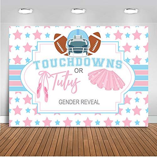 Mehofoto Touchdowns or Tutus Gender Reveal Backdrop Touchdowns or Tutus Photography Background 7x5ft Vinyl Football Theme Gender Reveal Party Banner -