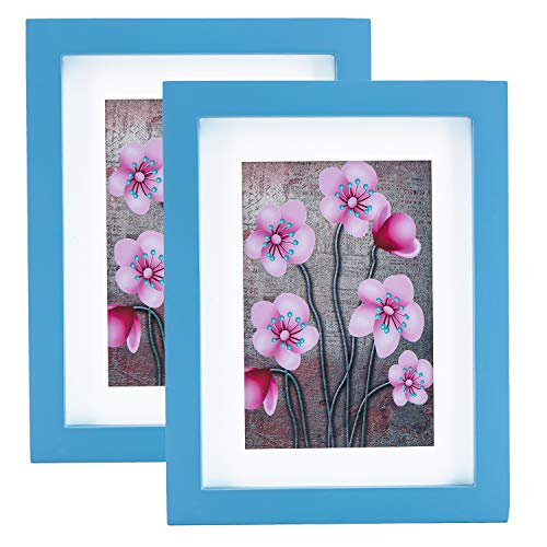 BesideTree 6x8 inch Blue Picture Frames Solid Wood 2 Set for Wall & Tabletop - Display Pictures 4x6 with Mat or 6x8 Without Mat - #18BLUE2P (Blue Sky Frame Picture)