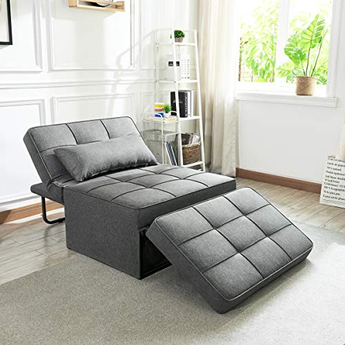 Vonanda Sofa Bed, Folding Single Sleeper Ottoman Chair Modern Upholstered Convertible Couch Guest Bed with Pillow for Small Space, Dark Gray