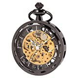 SIBOSUN Antique Mechanical Pocket Watch Open Face Skeleton Analog Unisex Black