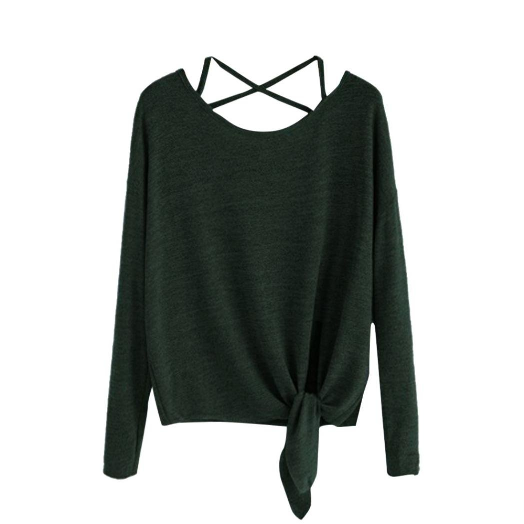 2a93f03f0 Top7: UONQD Women Crow Tied up Long Sleeve Soild Fasion Tops Blouse T-Shirt