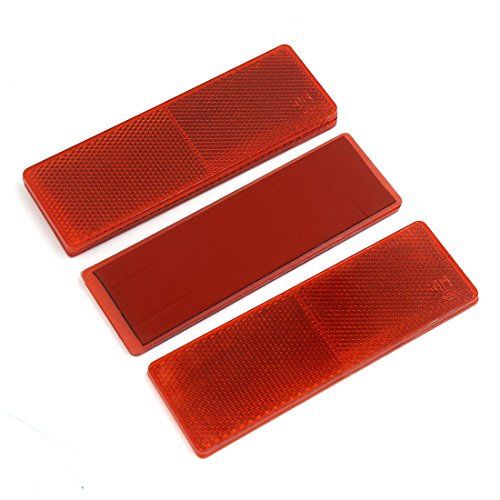 Red Side Safety Panel (uxcell 4PCS Red Plastic Car Safety Reflector Side Marker Reflective Panel w/o Holes)