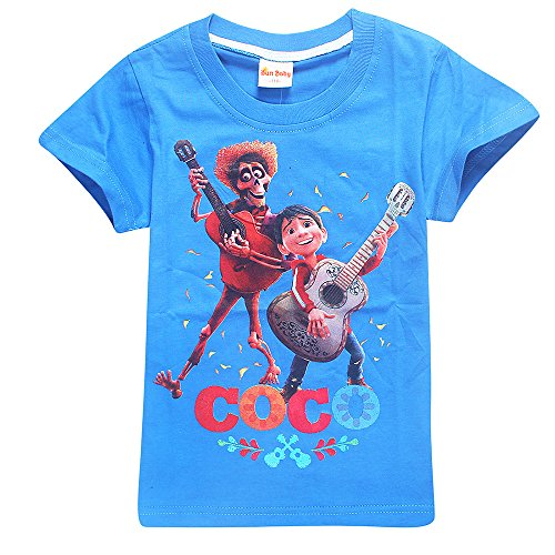 Toddler T-Shirts Coco Miguel Hector Guitar Pattern Shirt Short Sleeve Cotton Graphic (Day Of The Dead Toddler Costumes)