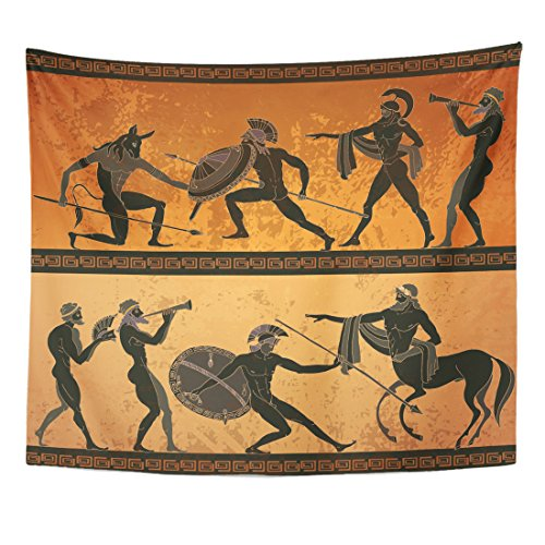 Emvency Tapestry Ancient Greece Black Figure Pottery Hunting for Minotaur Gods Home Decor Wall Hanging for Living Room Bedroom Dorm 50x60 inches -
