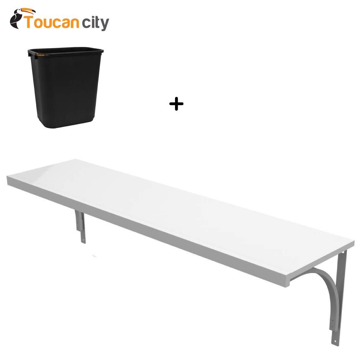 Toucan City 7 Gal Trash can and ClosetMaid 12 in x 72 in. Solid Wood Shelf Kit in White 1380
