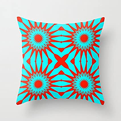 Amazon Com Turquoise Red Flowers Canvas Throw Pillow Covers