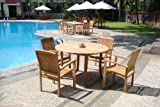 Cheap New 5 Pc Luxurious Grade-A Teak Dining Set – 48″ Round Table And 4 Wave Stacking Arm Chairs #WHDSWV2