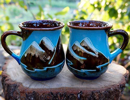 Handmade Pottery Blue Coffee Mugs, Mountain art, Gift for husband, Gift for Couple, Adventure awaits mug, Set of two tea cups