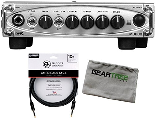 (Gallien Krueger MB-200 200 Watt Bass Amp Head Ultra Light GK w/American Stage Cable and Cloth)