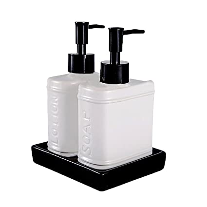 Bathroom Soap And Lotion Dispenser Set. Wentao 3 Piece Ceramic Bath Accessory Set Liquid Soap Or Lotion Dispenser