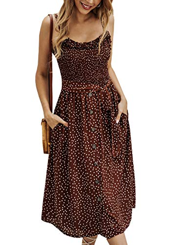 PRETTYGARDEN Women's Summer Sunflower Boho Spaghetti Strap Semi-Backless Button Down A-Line Midi Dress with Belt and Pockets (014-Brown, Medium)
