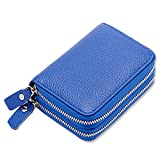 women's Genuine Leather Wallets double Zipper Credit Card slots ladies blue purse With 12 Card Slots -Mother's Day gift… (BLUE)