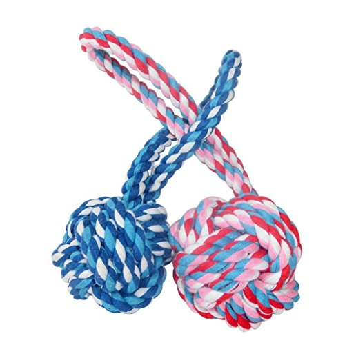 Sandistore Puppy Dog Cat Pet Toy Cotton Braided Knot Rope Chew Knot Chewing Toy (A)