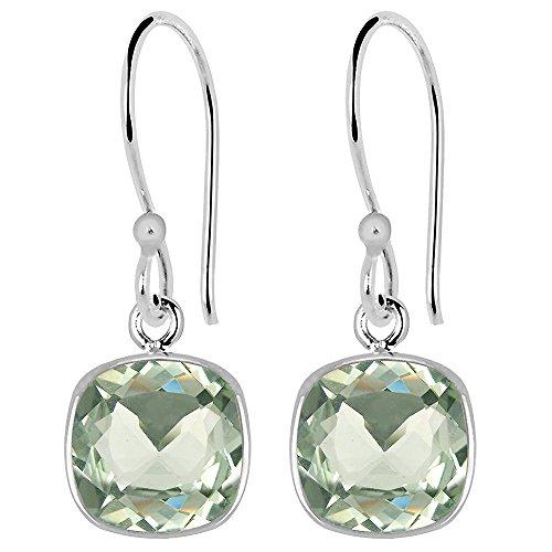 (Green Amethyst Earrings For Women By Orchid Jewelry | Silver Dangle Earrings | (13.70 Cttw, 15X10 Mm Teardrop; 8 Mm Cushion)| Simple. Beautiful. Affordable)