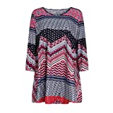 Wintialy Fashion Womens Casual Floral Print Shirts 3/4 Sleeves O-Neck Tunic Blouse Tops (XX-Large, Z03)