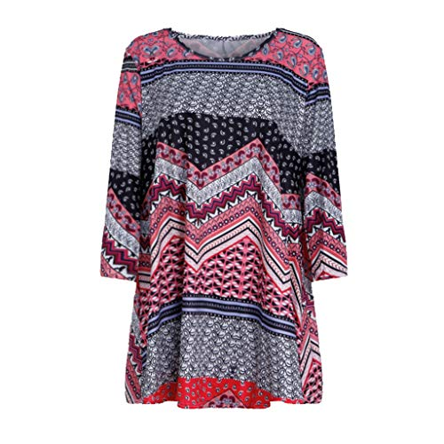 3/4 Sleeves Tees for women GOVOW Clearance Sale Fashion Womens Casual Floral Print Shirts O-Neck Tunic Blouse Tops(S,zz-Wine)]()