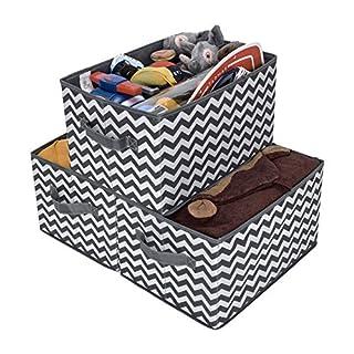 GRANNY SAYS Kid's Fabric Storage Bin Toy Storage Basket, Nursery Storage Closet Organizer Bins, Dark Gray and White, Large, 3-Pack