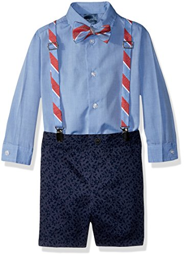 Nautica Boys' Toddler Set with Shirt, Pant, Suspenders, and Bow Tie, Bank Blue Floral, 4T/4