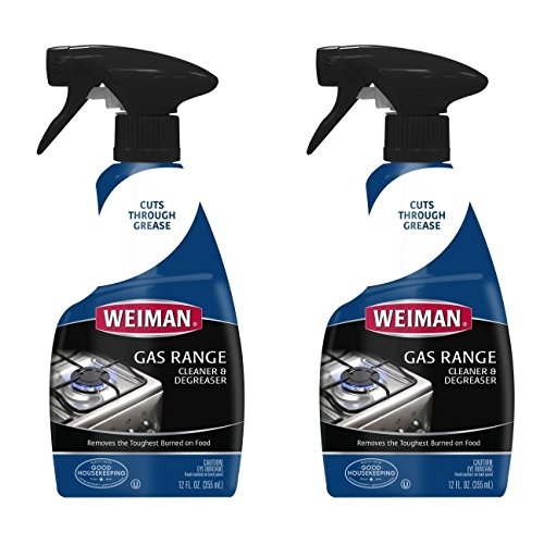 Top Heavy Duty Gas Range - Weiman Gas Range Cook Top Cleaner and Degreaser - 12 Ounce 2 Pack - Removes Burnt On Food, Non-Abrasive, Daily Cooktop Cleaner and Polish