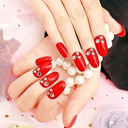 PAMO - 24 uñas postizas de uñas postizas de color rojo: Amazon.es ...
