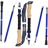 Trekology TREK-Z Collapsible Tri-fold Trekking Pole/Hiking Poles - Adjustable Foldable Lightweight Aluminum Walking Sticks, Folding Trail Cane for Walking, Senior Trekking, Hike, Backpacking