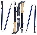 Trekology TREK-Z Collapsible Tri-fold Trekking Pole/Hiking Poles - Adjustable Lightweight Aluminum Walking Sticks, Portable Trail Cane with Cork Grip for Walking (Blue, 100cm-120cm)