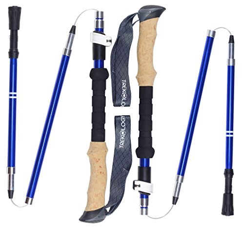 Trekology Trek-Z Collapsible Tri-fold Trekking Pole/Hiking Poles - Adjustable Lightweight Aluminum Walking Sticks, Portable Trail Cane with Cork Grip for Walking (Blue, 100cm-120cm)