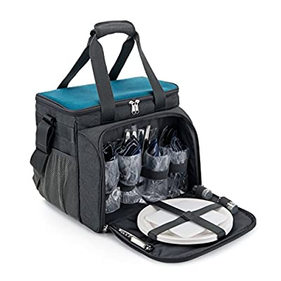 YONOVO Family Insulated Picnic Bag with Cooler Compartment, Plates and Cutlery Set Perfect for Outdoor, Sports, Hiking, Camping, BBQS