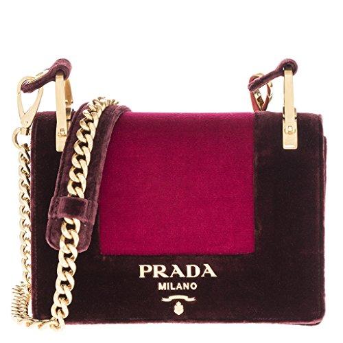 Prada Woman's Velvet Chain Shoulder Bag Red (Prada Chain Bag)