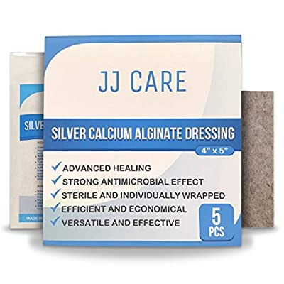 "[Pack of 5] Silver Alginate Wound Dressing Pads 4"" x 5"" Calcium Alginate Dressing, Patches, Antimicrobial, Sterile, Non-Stick Padding, Comfortable and Absorbent"